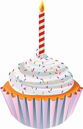 Happy Birthday Cupcake with Colorful Sprinkles and Candle Illustration Stock Photo - Budget Royalty-Free & Subscription, Code: 400-06170846
