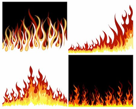 Inferno fire vector background set for design use Stock Photo - Budget Royalty-Free & Subscription, Code: 400-06170869