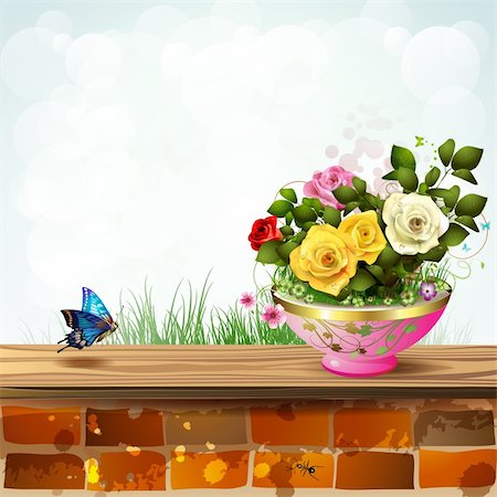 Flowerpot with roses and brick wall Stock Photo - Budget Royalty-Free & Subscription, Code: 400-06170899