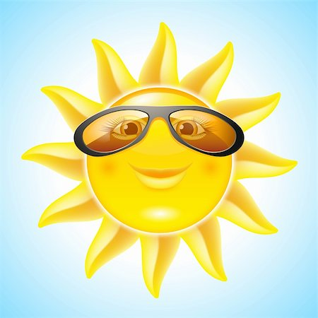 Fun Sun with Sunglasses. Cartoon Character for design Stock Photo - Budget Royalty-Free & Subscription, Code: 400-06171069