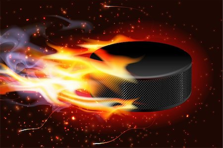 spark vector - Detailed illustration of a hockey puck flying through the air on fire. Stock Photo - Budget Royalty-Free & Subscription, Code: 400-06171063