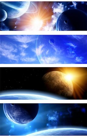 Set of space banners. A beautiful space scene with planets and nebula Stock Photo - Budget Royalty-Free & Subscription, Code: 400-06171080