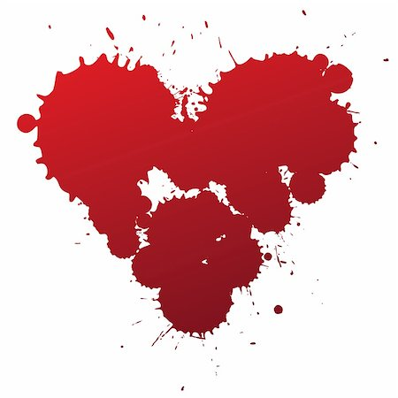 Red splashing blood drops heart symbol, vector illustartion. Stock Photo - Budget Royalty-Free & Subscription, Code: 400-06171092