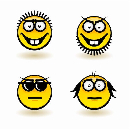 Cartoon faces. Set of fifth. Illustration for design on white background Stock Photo - Budget Royalty-Free & Subscription, Code: 400-06171163