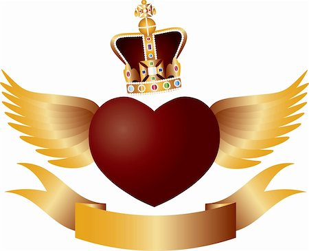 fly heart - Flying Red Heart with Crown Jewels Wings and Banner Illustration Stock Photo - Budget Royalty-Free & Subscription, Code: 400-06171209