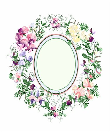rose flower in oval vector - Decorative floral frame from sweet pea flowers and leafs. Stock Photo - Budget Royalty-Free & Subscription, Code: 400-06171210