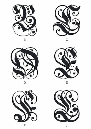 calligraphic gothic initials letters B, C, D, E, F, L Stock Photo - Budget Royalty-Free & Subscription, Code: 400-06171299