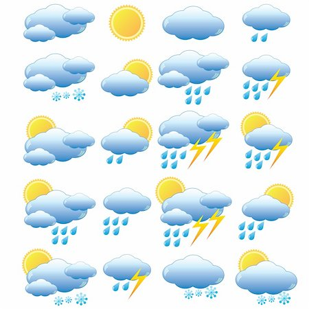 Set of images for meteorology on the white background. Also available as a Vector in Adobe illustrator EPS 8 format, compressed in a zip file. Stock Photo - Budget Royalty-Free & Subscription, Code: 400-06171358