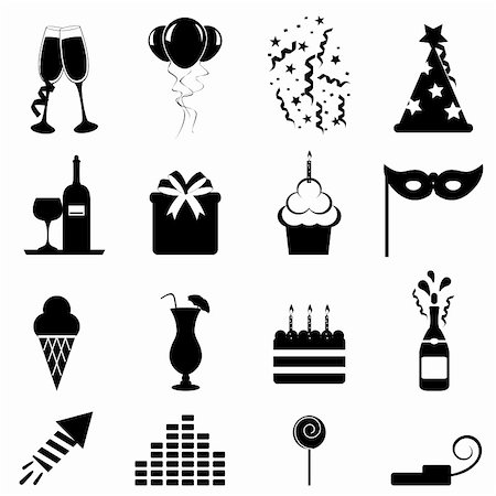 soleilc (artist) - Party and celebration icon set Stock Photo - Budget Royalty-Free & Subscription, Code: 400-06171387