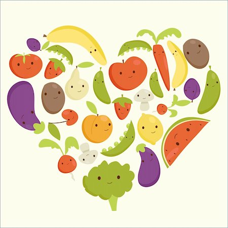 Fruits and vegetables heart shape, vector illustration Stock Photo - Budget Royalty-Free & Subscription, Code: 400-06171672