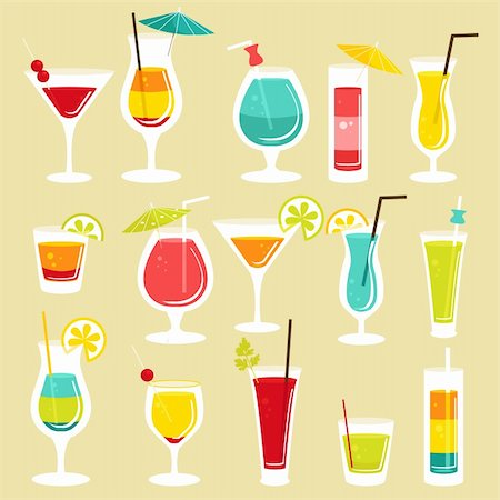 Set of cocktails, vector illustration Stock Photo - Budget Royalty-Free & Subscription, Code: 400-06171836
