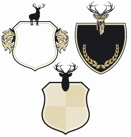deer hunt - Coat of arms with three deer Stock Photo - Budget Royalty-Free & Subscription, Code: 400-06171851