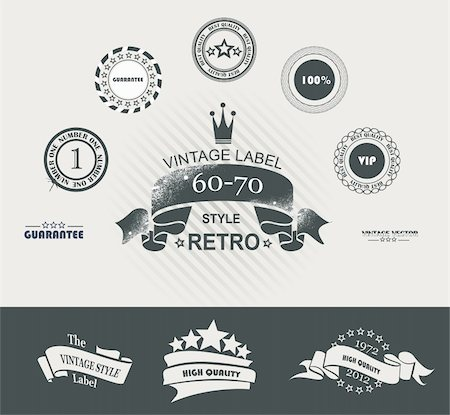 Vintage Styled Premium Quality Labels and Ribbons collection with black grungy design. Stock Photo - Budget Royalty-Free & Subscription, Code: 400-06171874