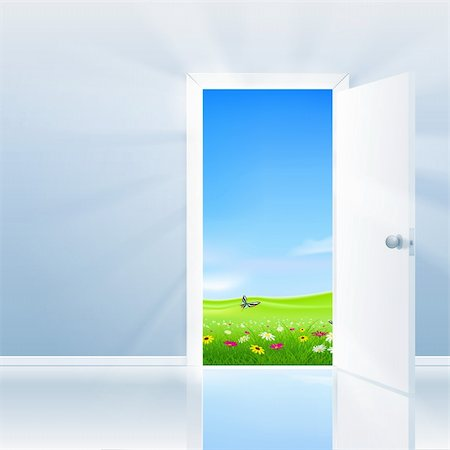 Open door concept. Door opens to a beautifull lush field under a blue sky. Stock Photo - Budget Royalty-Free & Subscription, Code: 400-06171871