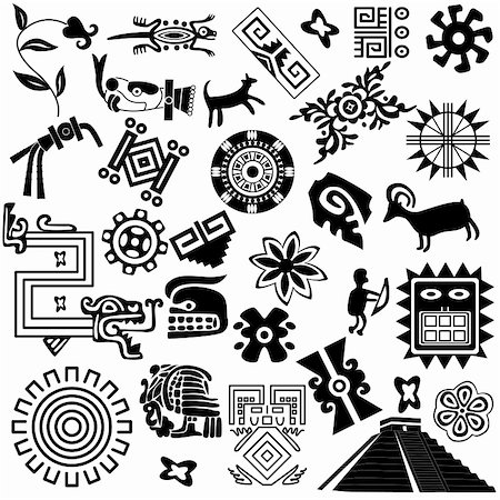 Vector of ancient american design elements on white Stock Photo - Budget Royalty-Free & Subscription, Code: 400-06171955