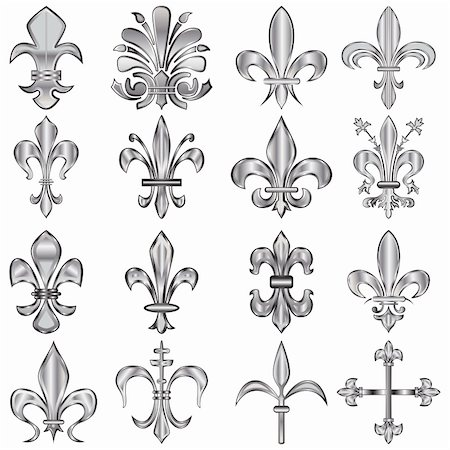 Vector set of metal Fleur-de-lis on white Stock Photo - Budget Royalty-Free & Subscription, Code: 400-06171956