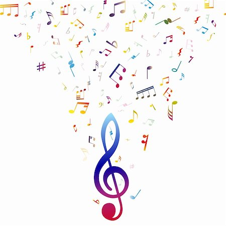 Vector musical notes staff background for design use Stock Photo - Budget Royalty-Free & Subscription, Code: 400-06172725