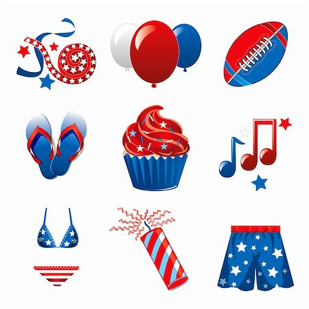 Vector Illustration of nine icons for the 4th of July Independence Celebration. Stock Photo - Budget Royalty-Free & Subscription, Code: 400-06173073