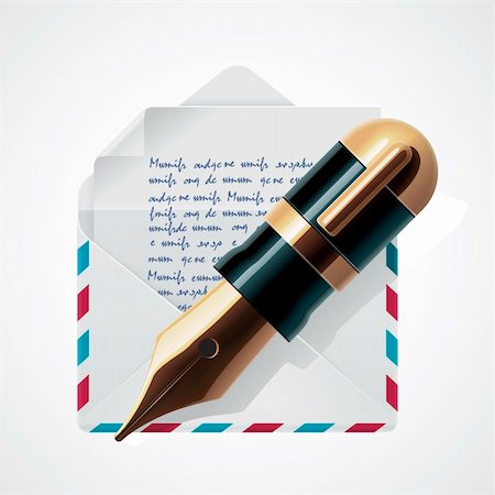 Detailed icon representing letter in envelope and fountain pen Stock Photo - Budget Royalty-Free & Subscription, Code: 400-06173152