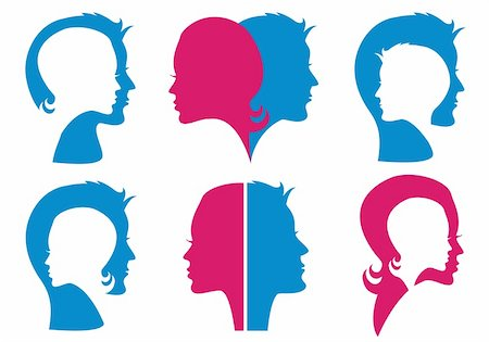 simsearch:400-04863562,k - couples, man and woman face silhouettes, vector set Stock Photo - Budget Royalty-Free & Subscription, Code: 400-06173310