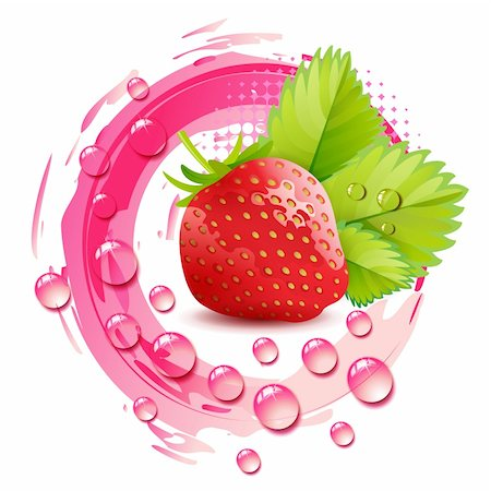 Strawberry with leafs and drops Stock Photo - Budget Royalty-Free & Subscription, Code: 400-06173458