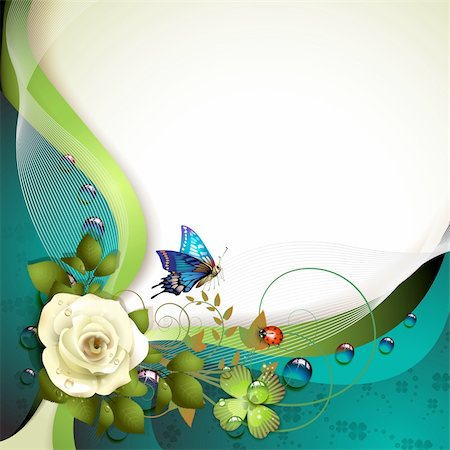 Background with rose, butterfly and drops of water Stock Photo - Budget Royalty-Free & Subscription, Code: 400-06173464