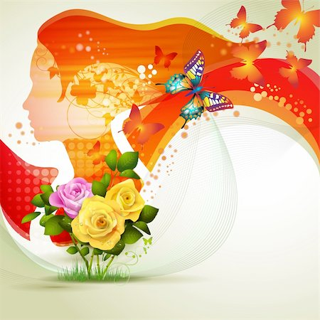 Stylized red portrait with butterflies and flowers Stock Photo - Budget Royalty-Free & Subscription, Code: 400-06173466