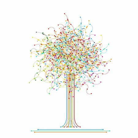 Tree made of colored abstract network Stock Photo - Budget Royalty-Free & Subscription, Code: 400-06173688