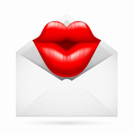 Illustration of a Post Envelope with Kiss Sign Inside Stock Photo - Budget Royalty-Free & Subscription, Code: 400-06173926