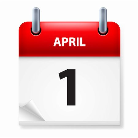 First in April Calendar icon on white background Stock Photo - Budget Royalty-Free & Subscription, Code: 400-06173928