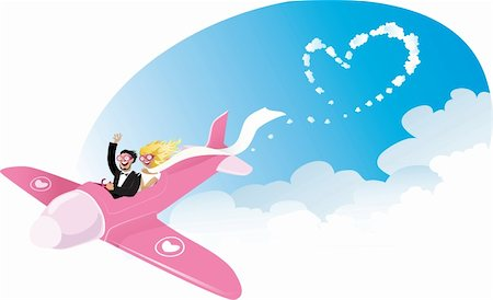 simsearch:400-04863562,k - Vector cartoon of a happy newlyweds on pink airplane Stock Photo - Budget Royalty-Free & Subscription, Code: 400-06180045