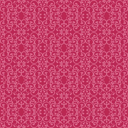 Fashionable seamless pattern with a vintage design in red and pink. Stock Photo - Budget Royalty-Free & Subscription, Code: 400-06199344