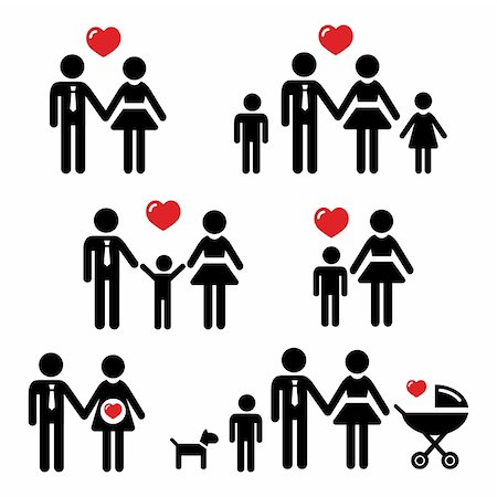 family abstract - People black icons - family, kids, baby, pregnant, dog, pram Stock Photo - Budget Royalty-Free & Subscription, Code: 400-06199472