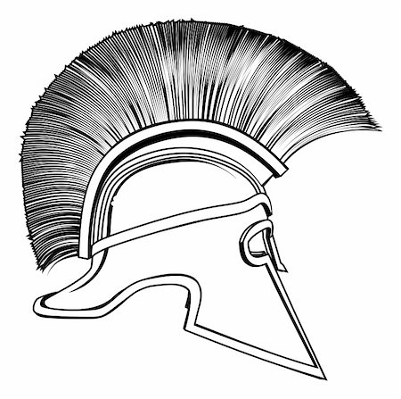 Black and white illustration of a side on ancient Greek Warrior helmet, Spartan helmet, Roman helmet or Trojan helmet. Stock Photo - Budget Royalty-Free & Subscription, Code: 400-06199517