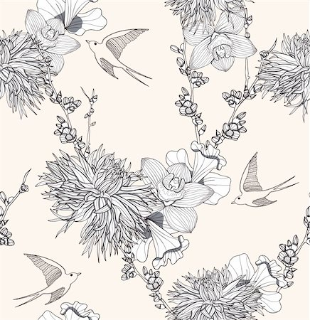 peony illustrations - Seamless floral pattern Seamless pattern with flowers and birds. Elegant and romantic background with swallows. Stock Photo - Budget Royalty-Free & Subscription, Code: 400-06199614