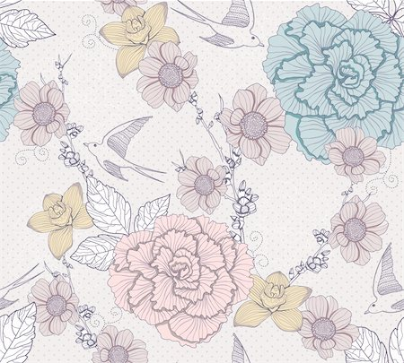 peony illustrations - Seamless floral pattern. Seamless pattern with flowers and birds. Elegant and romantic background with swallows. Stock Photo - Budget Royalty-Free & Subscription, Code: 400-06199615