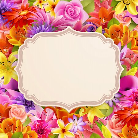 Card with place for text on flower background. Vector illustration. Stock Photo - Budget Royalty-Free & Subscription, Code: 400-06199835
