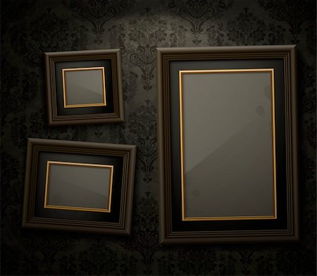 Wooden frames on the wall. Vintage background Stock Photo - Budget Royalty-Free & Subscription, Code: 400-06199842