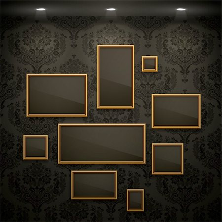 Golden frames on the wall. Vintage background. Stock Photo - Budget Royalty-Free & Subscription, Code: 400-06199877