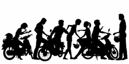 Editable vector silhouettes of a young motorcycle gang with all people and scooters as separate objects Stock Photo - Budget Royalty-Free & Subscription, Code: 400-06204296