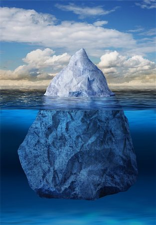 Iceberg floating in blue ocean, global warming concept Stock Photo - Budget Royalty-Free & Subscription, Code: 400-06204763