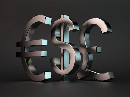 3d render of metal characters dollar, euro, pound over black background Stock Photo - Royalty-Free, Artist: kotist, Image code: 400-06205487