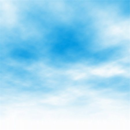 Editable vector illustration of light clouds in a blue sky made using a gradient mesh Stock Photo - Budget Royalty-Free & Subscription, Code: 400-06207644