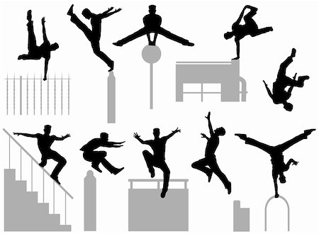 Set of editable vector silhouettes of a man doing parkour Stock Photo - Budget Royalty-Free & Subscription, Code: 400-06207645