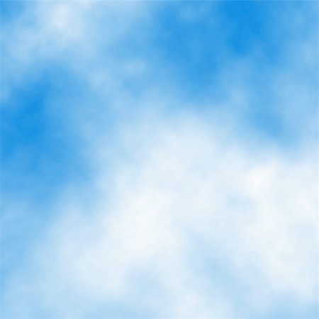 Editable vector illustration of white cloud detail in a blue sky made using a gradient mesh Stock Photo - Budget Royalty-Free & Subscription, Code: 400-06207647