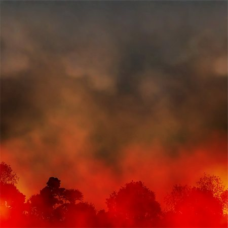 Editable vector EPS10 illustration of a smoky forest fire made using a gradient mesh Stock Photo - Budget Royalty-Free & Subscription, Code: 400-06207905
