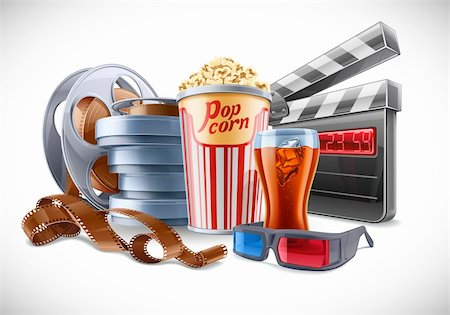 Vector illustration of cinema theme on light background Stock Photo - Budget Royalty-Free & Subscription, Code: 400-06208155