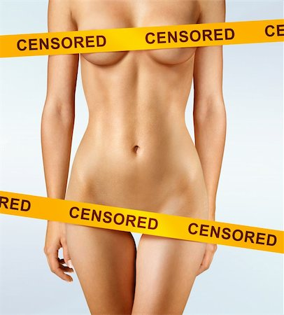 beautiful body of woman covered with censorship tapes Stock Photo - Budget Royalty-Free & Subscription, Code: 400-06208270