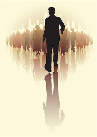 Editable vector illustration of a businessman walking infront of a crowd of people Stock Photo - Budget Royalty-Free & Subscription, Code: 400-06208553