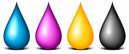 paint dripping graphic - illustration of CMYK colored drops, symbol for painting and printing Stock Photo - Budget Royalty-Free & Subscription, Code: 400-06200033